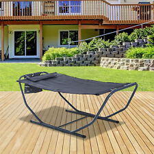 Hammock Sun Lounger Bed Stand with Pillow Steel Grey Garden Patio Outdoor