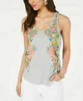 Lucky Brand Womens Sz M Cotton Floral Graphic Scoop Neck Tank Top Gray