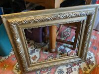 LARGE ANTIQUE SOLID WOOD GILT PICTURE FRAME 18thC 20X16/30X27 PAINTING MIRROR
