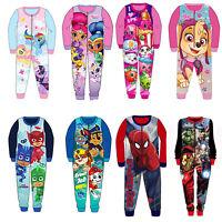 Kids Fleece Disney PJ Masks Paw Patrol Shimmer Shine Pyjamas Sleepsuit