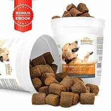 MAX Fish Oil for Dogs – Omega 3 Chews 54,000mg per Jar. Allergy Support + Itch
