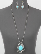 Long Turquoise Blue Pendant Statement Silver Tone Chain Necklace Earrings Set