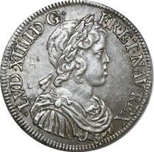 O8490 Rare 1/2 Ecu Louis XIV m courte 1645 A Paris Argent SPL !!!! ->F offre