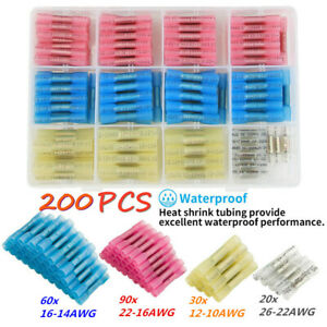 200X 10-22 AWG Seal Heat Shrink Butt Wire Terminals Automotive Splice Connector