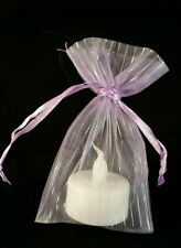 12 Light Purple/Lavender and Silver Organza Wedding/Party Favor/Gift Bags