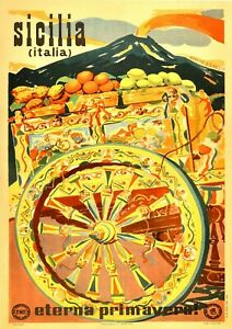 """Reproduction Vintage Italian """"Sicilia"""" Poster, Home Wall Art, Size A2"""
