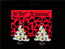 Betsey Johnson Rhinestone White Enamel Christmas Tree Ear Stud Earrings