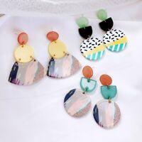 Acrylic Contrast Color Pattern Earrings Stud Dangle Fashion Women Summer Gift