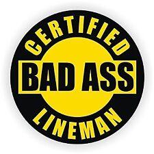 "Bad Ass Lineman (3 Pack) HardHat Sticker (size: 2"" color: BLACK/YLW)"