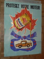 Affiche Ancienne Automobile Huile MOBILOIL Pégase car poster Années 60 Bidon