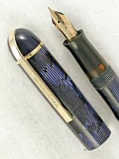 VINTAGE 1940s EVERSHARP BLUE MOIRE STRIPED SKYLINE FOUNTAIN PEN  ~ RESTORED!