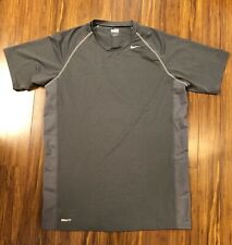 Mens Nike Fit Gray Short Sleeve Workout Running Shirt Gray Size Medium