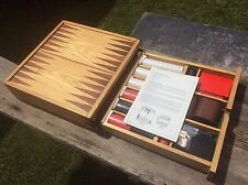 Wood Flip Game Board Set , Checkers, Backgammon, Dice , Poker Chips