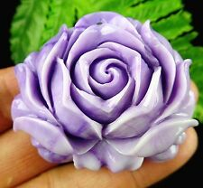 Beautiful purple Giant clam carved flower pendant bead BC3728