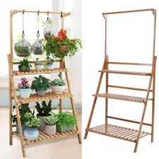Folding 3 Tier Bamboo Flower Plant Pot Shelf Stand Display Ladder Garden Outdoor