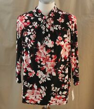 Liz Claiborne Career Petite, PL, Black Multi Floral Knit Top, New with Tags