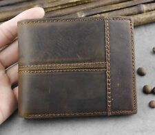 Vintage Natural Strong Genuine Leather Stitching Men's QR Credit Card Wallet