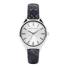 Karen Millen Python Effect Leather Watch With Swarovski Detail KMA102B