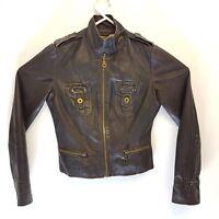 Zara Womens Biker Jacket Black Nappa Leather Size Small UK 10 Vintage Look