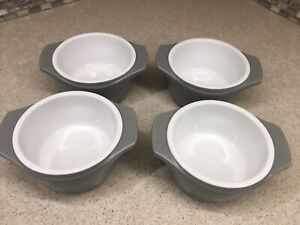 Set of 4 Calphalon Kitchen Essentials Ramekins, Gray & White, 8 Oz