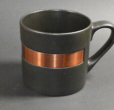 Starbucks Ceramic Coffee Cup Mug Matte Black with Copper Band