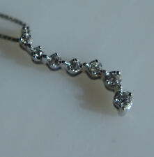 Estate 14k Solid White Gold Journey Pendant with Diamonds and 14k Chain Included