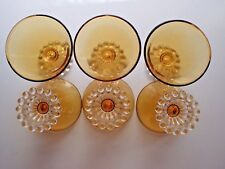 VINTAGE Beautiful Set of 6 Amber Sherbet Dishes with Clear Glass Footing!