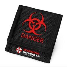 Resident Evil Biohazard Umbrella Corporation Danger Virus Black Canvas Wallet