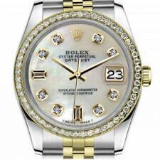 Rolex Oyster Perpetual Datejust 36mm Pearl Dial with Diamond Numbers Jubilee Ban