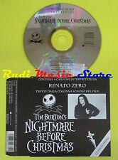 CD Singolo RENATO ZERO Tim Burton's Nightmare before christmas PROMO no dvd(S13)