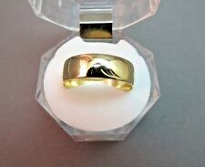 VTG 14k Yellow Gold Wedding Band Wide 5.73g Ring SZ 10.5 Etched Star 6.8mm NICE!