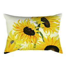 Yellow Sunflower Soft Home Decor Cushion COVER 2-Sided Lumbar Pillow Case 12x20""