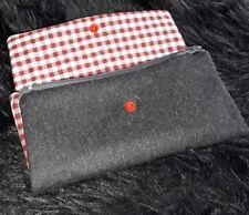 XL Damen Geldbörse, Rockabella Style grau-rot *handmade*