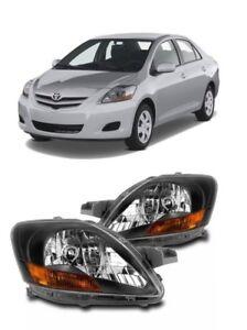 07 12 Toyota Yaris Sedan Black Bezel Headlights Lamps Replacement 2007-2012 SET