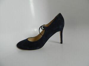 "New Women's Nine West Wndaphne Suede Navy Blue 3.25"" Heels Size 8M"