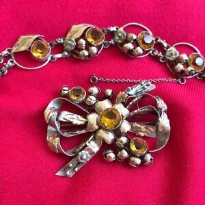 Vintage HOBE sterling 14K set Large brooch & bracelet amber  art nouveau style
