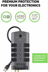 Belkin 12-Outlet Pivot-Plug Power Strip Surge Protector, 8ft Cord (4,320 Joules)