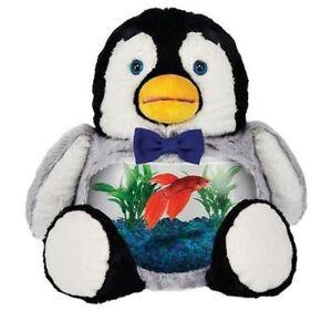Teddy Tank Plush Dapper Spiffy Penguin Betta Fish Bowl Pal Friend Stuffed Animal