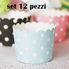 Set 12 Pezzi Pirottini Azzurri Pois Bianchi In Carta Feste Compleanni dfh