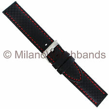 20mm Hadley Roma Carbon Fiber Black W/ Red Stitching Mens Watch Band 847