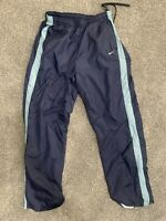 Vintage Nike Windbreaker Pants; Womens Large; Blue Striped; Swoosh Logo; Red Tag