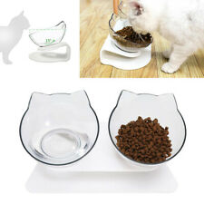 More details for non-slip double pet bowls with raised stand dog cat food water feeding station