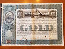 1902 Michigan Central Railroad Company Bond Stock Certificate NY