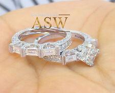 14K WHITE GOLD PRINCESS CUT DIAMOND ENGAGEMENT RING AND BAND BRIDAL SET 2.50CT