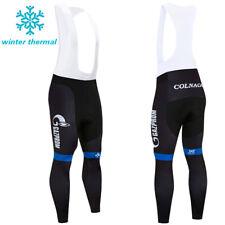 Men Winter Cycling Fleece Bib Pants Thermal Long Tights Bike Racing Cushion Team