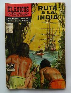 VINTAGE RARE CLASSICOS ILLUSTRADOS RUTA A LA INDIA #134 MEXICAN COMIC 1965