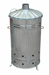 125 LITRE GALVANISED INCINERATOR BURINING FIRE BIN GARDEN RUBBISH BURN ANYTHING!