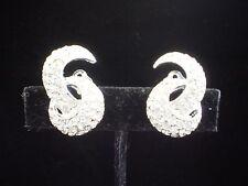 Vintage Art Deco Inspired Polcini Sculptural Swirl 3-D Clip-On Crystal Earrings
