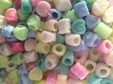 20 perle foro largo plastica cuori pastello, 1,2x1,1 cm, foro 4 mm bigiotteria