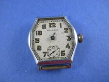 WALTHAM MENS OLD WRIST WITH SCREW IN JEWEL SETTINGS OLD SCHOOL MOVEMENT